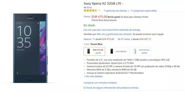 Precio del Sony Xperia XZ en Amazon