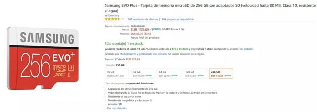 Tarjeta micro SD 256 GB de Samsung℗ modelo EVO Plus