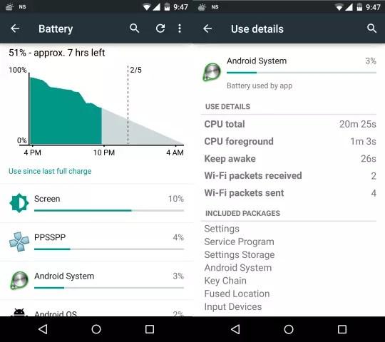 Ajustes de batería de Android