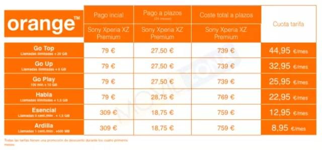 tarifa terminal orange xperia xz premium