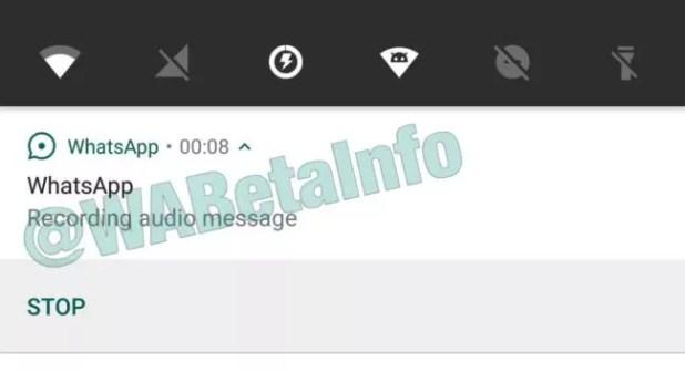 notas de voz de WhatsApp en segundo plano