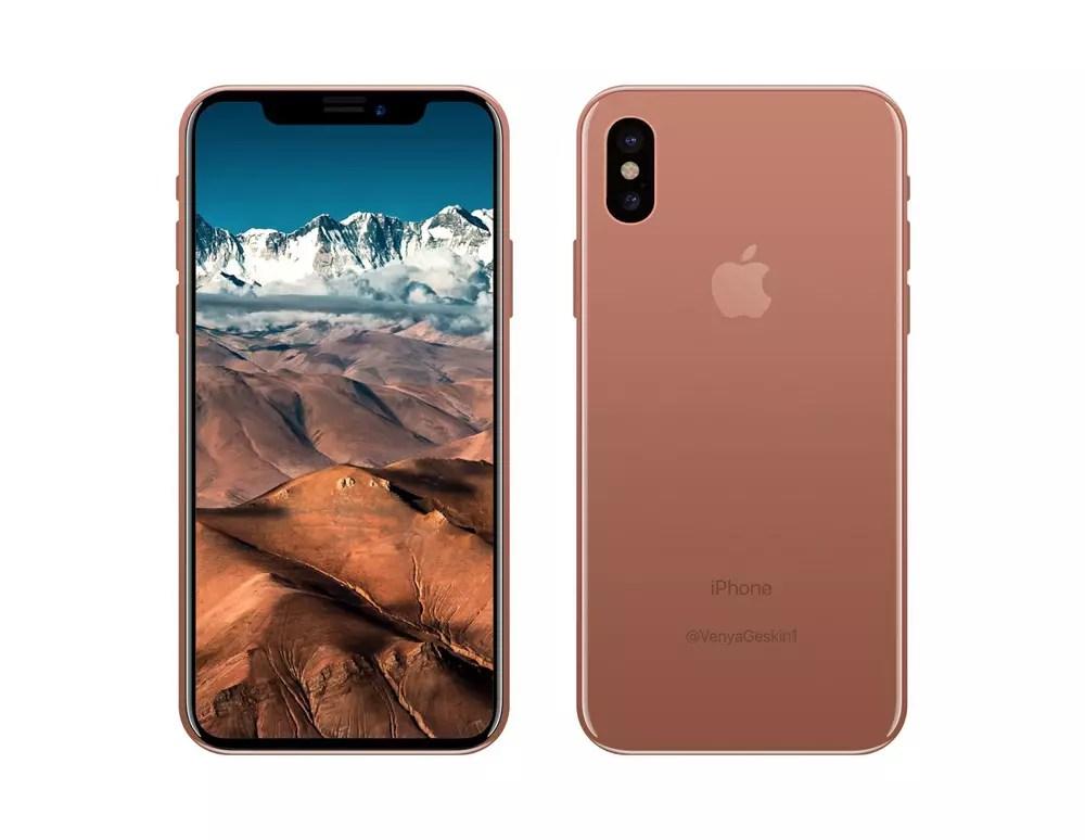 iPhone ocho en color cobre y frontal negro