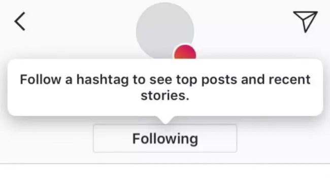 Funcionalidad que permite seguir hashtags en Instagram