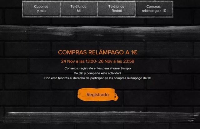 Registro en el Black Friday de Xiaomi