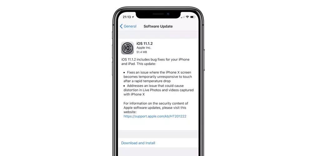 Actualización OTA con iOS® 11.1.2 con solucion a un dilema de la pantalla del iPhone® X