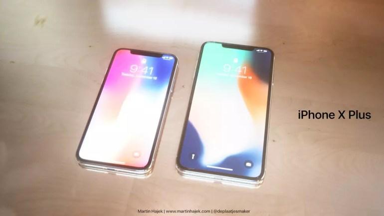 Contraste de tamaño de la pantalla del iPhone X y iPhone X Plus