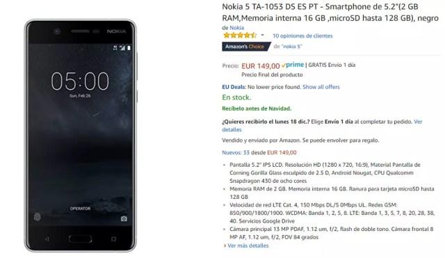 Precio del Nokia℗ 5 en Amazon