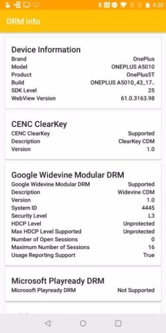 OnePlus 5T certificado DRM con nivel 3