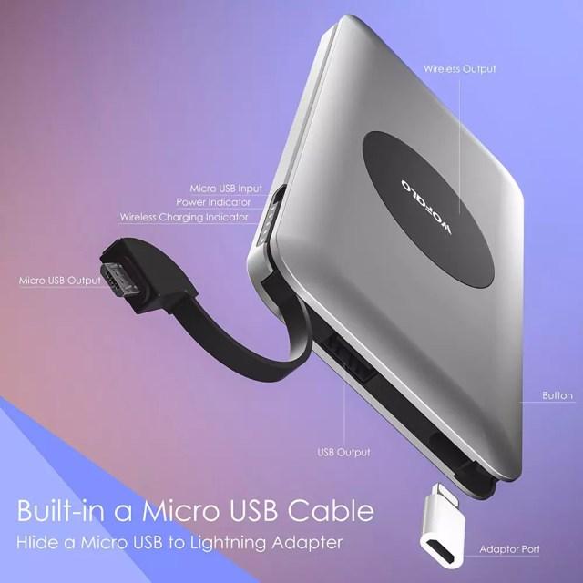 Batería portátil con carga inalámbrica