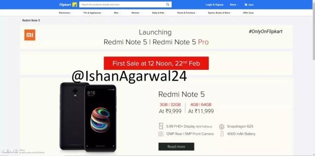 Precio del Xiaomi℗ Redmi Note 5 en Flipkart