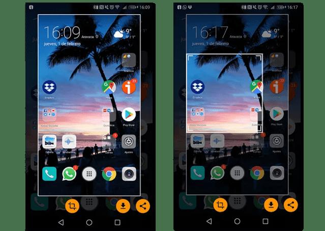 captura de pantalla parcial en android