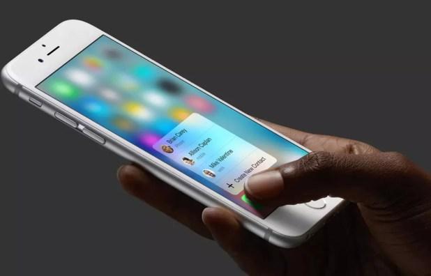 Pantalla de iPhone con tecnología 3D Touch