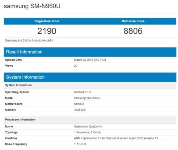 Samung Galaxy Note 9-pantalla-características-RENDIMIENTO