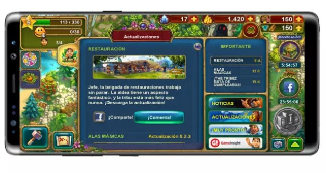 Interfaz del juego The Tribez