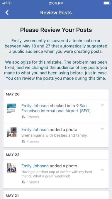 Interfaz de la aplicación de Facebook