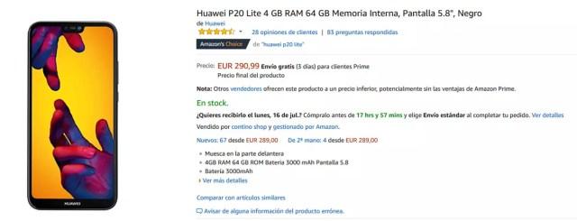 Precio del Huawei P20 Lite con una propuesta de Amazon