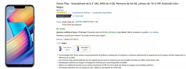 Descuento del Honor Play en Amazon
