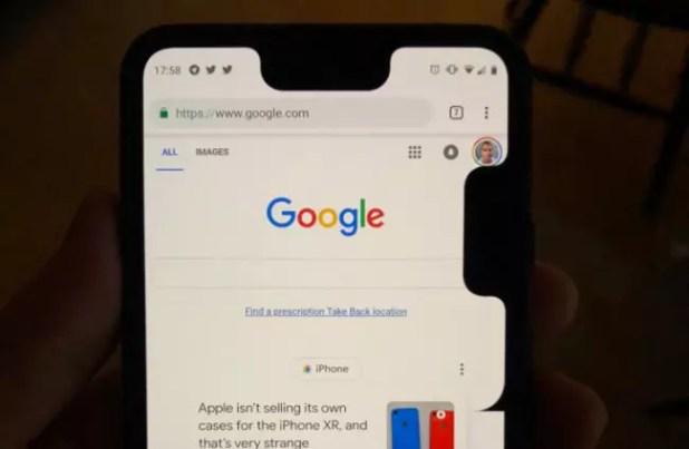 Segundo notch en el Google Pixel 3 XL