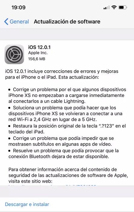 Actualización iOS 12.0.1 con la solución a los problemas de iOS 12