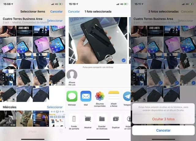 Ocultar fotografías en iOS