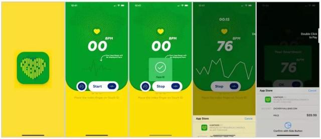 Interfaz de la app que promete medir el ritmo cardíaco con el Touch ID de Iphone y que estafa a los usuarios