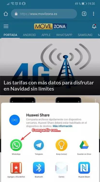 Opción de compartir de Android