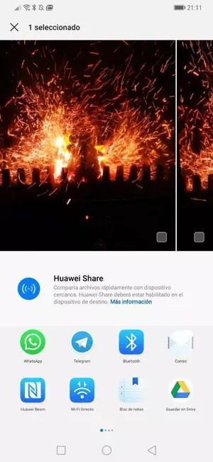 Interfaz del menú compartir en Android