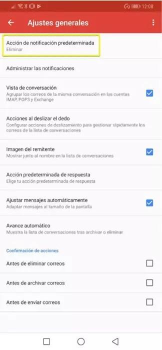 Apartado de ajustes globales de la aplicación de Gmail(email) para Android