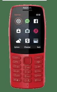 Teléfono con teclado inferior fijo y pantalla superior con iconos.