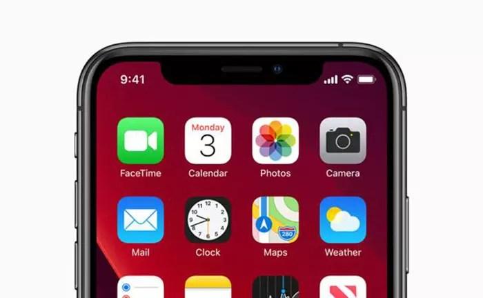 Pantalla de un iPhone con iOS 13