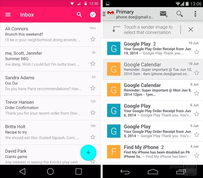 Gmail en Android L