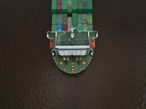Large ship shipping containers