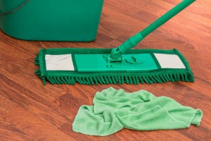 Mop and rag for keeping your floors clean.