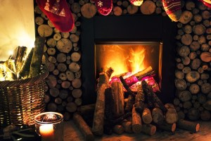 Fireplace on holidays