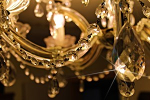 A close up of a chandelier.