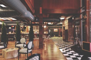 A bar in a hotel.