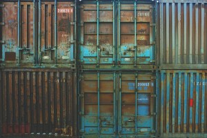 Rusty storage containers.