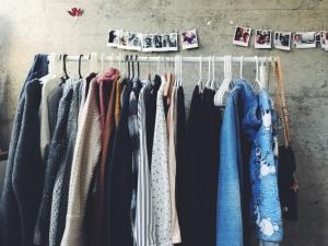 Coats on a rack.