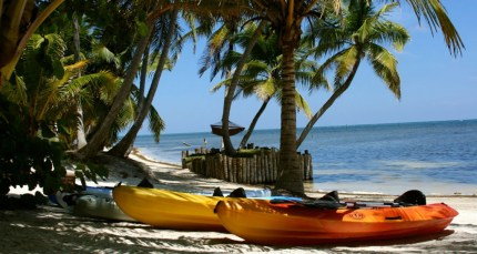 Belize sea kayak on the beach