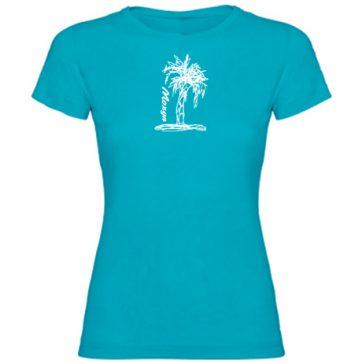 Camisetas turquesa niña palmera blanca