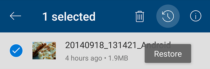 OneDrive Restore Photo Android