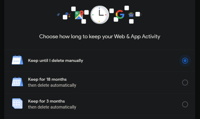 Activité Web de suppression automatique de Google