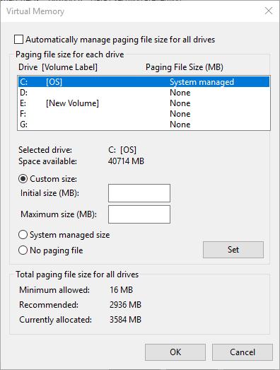 taille de fichier de pagination personnalisée de mémoire virtuelle