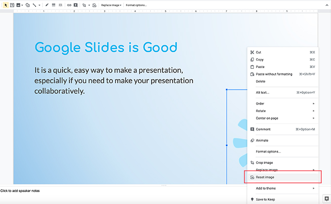 Modification d'image dans Google Slides Réinitialiser l'image