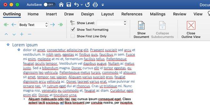 Comment écrire un ebook: vue Microsoft Word Outline