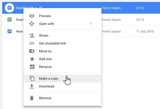 Google Drive Faites une copie