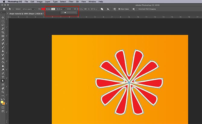 Comment utiliser l'outil de forme personnalisée Photoshop Ajuster le trait
