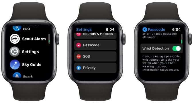 Apple Watch Handgelenkserkennung