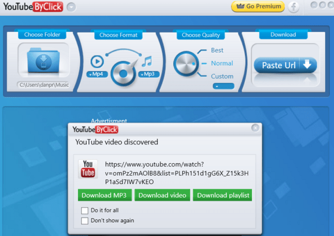 application youtubebyclick