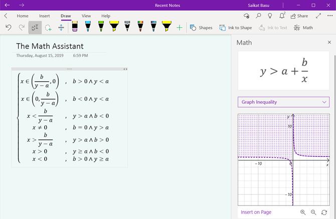 Assistant mathématique OneNote pour Windows 10